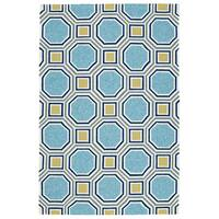 Indoor/Outdoor Handmade Getaway Blue Rug (4'0 x 6'0) - 4' x 6'