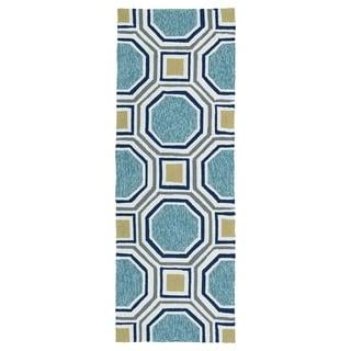 Indoor/Outdoor Handmade Getaway Blue Rug (2'0 x 6'0) - 2' x 6'