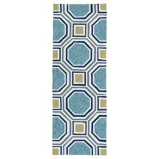 Indoor/Outdoor Handmade Getaway Blue Rug (2'0 x 6'0)