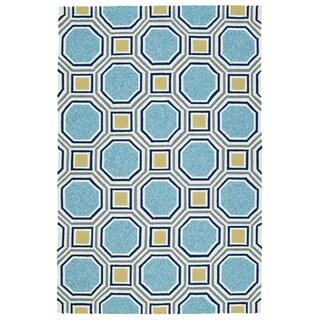 Indoor/Outdoor Handmade Getaway Blue Rug (2'0 x 3'0) - 2' x 3'
