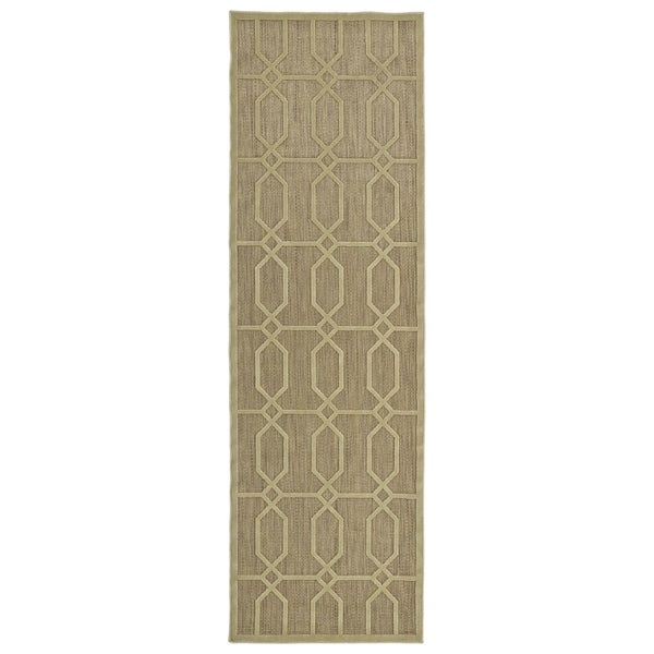 Indoor/Outdoor Luka Khaki Geo Rug - 2'6 x 7'10