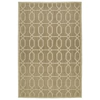 "Indoor/Outdoor Luka Khaki Geo Rug - 3'10"" x 5'7"""