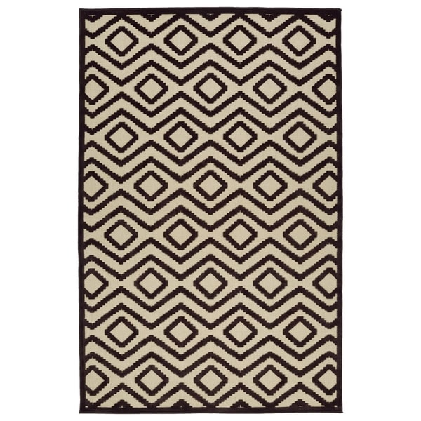 Indoor/Outdoor Luka Brown Diamond Rug - 8'8 x 12'