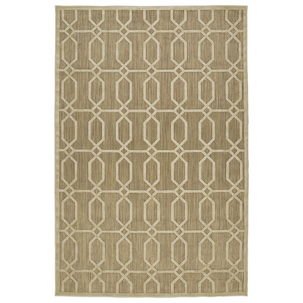 "Indoor/Outdoor Luka Khaki Geo Rug (5' x 7'6"")"