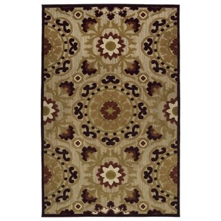 Indoor/Outdoor Luka Brown Suzani Rug (8'8 x 12'0) - 8'8 x 12'