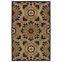 Indoor/Outdoor Luka Brown Suzani Rug - 8'8 x 12'