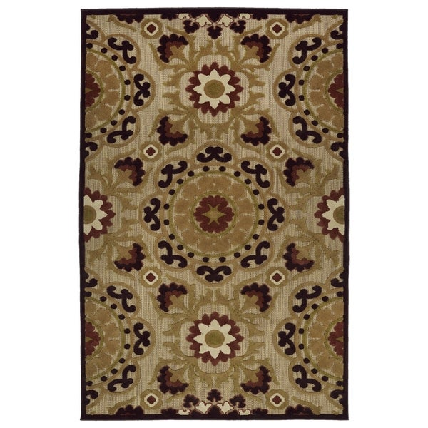 Indoor/Outdoor Luka Brown Suzani Rug - 7'10 x 10'8