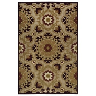 Indoor/Outdoor Luka Brown Suzani Rug (7'10 x 10'8) - 7'10 x 10'8