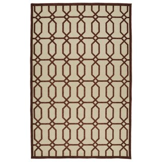 Indoor/Outdoor Luka Terracotta Geo Rug (3'10 x 5'8)