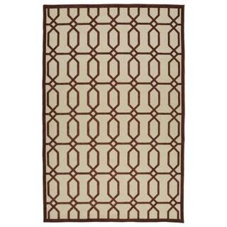 Indoor/Outdoor Luka Terracotta Geo Rug (7'10 x 10'8)