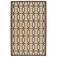 "Indoor/Outdoor Luka Terracotta Geo Rug - 8'8"" x 12'"