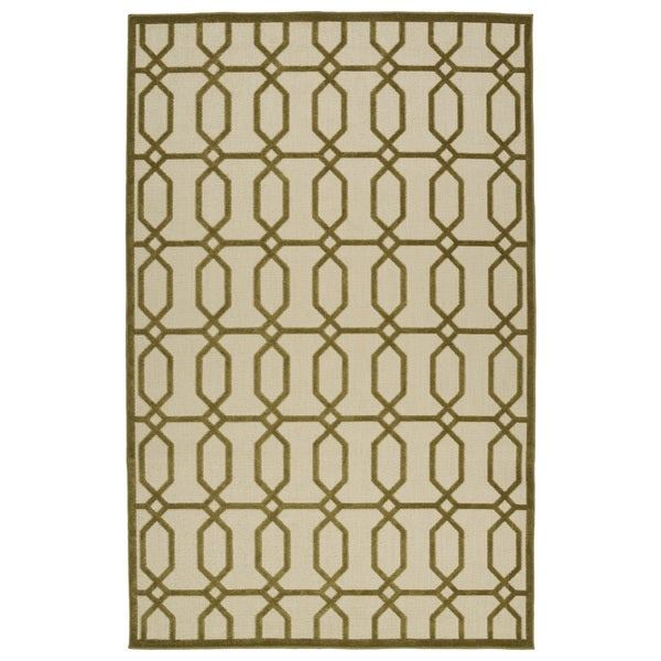 Indoor/Outdoor Luka Olive Geo Rug - 7'10 x 10'8