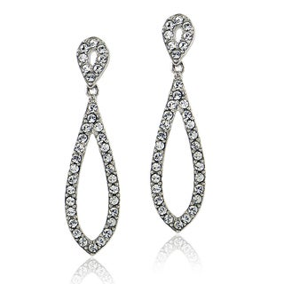 Crystal Ice Silvertone Crystal Elements Double Teardrop Earrings