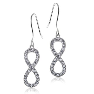 Crystal Ice Silvertone Swarovski Elemenrts Infinity Dangling Earrings