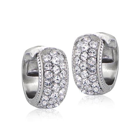 Crystal Ice Silvertone Swarovski Elements Cuff Earrings