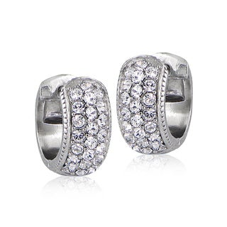 Crystal Ice Silvertone Swarovski Elements Cuff Earrings