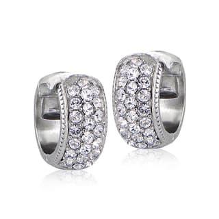 Crystal Ice Silvertone Swarovski Elements Cuff Earrings|https://ak1.ostkcdn.com/images/products/10106312/P17246665.jpg?impolicy=medium