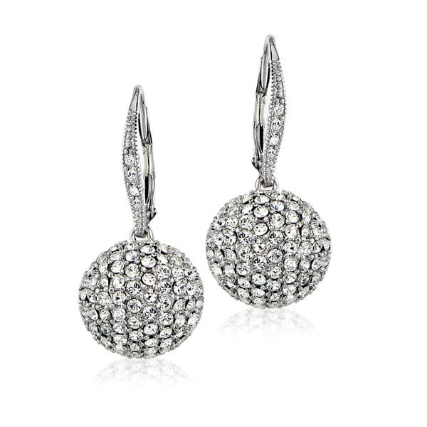 Crystal Ice Silvertone Swarovski Elements Ball Drop Leverback Earrings