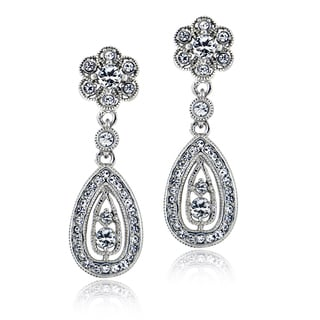 Crystal Ice Silvertone Crystal Elements Flower Teardrop Earrings