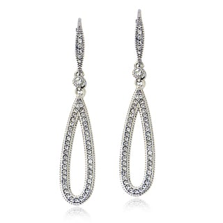 Crystal Ice Silvertone Swarovski Elements Teardrop Leverback Earrings