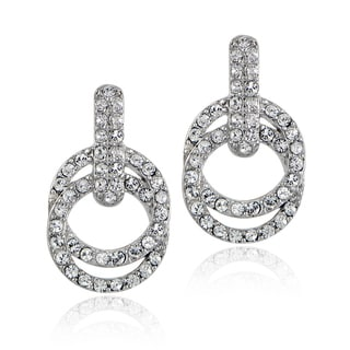 Crystal Ice Silvertone Swarovski Elements Intertwined Circle Earrings