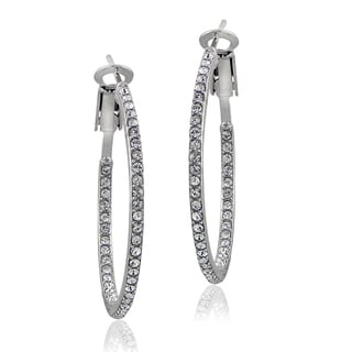 Crystal Ice Silvertone Inside-out Swarovski Elements 31mm Hoop Earrings