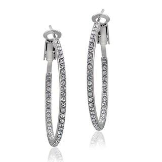 Crystal Ice Silvertone Inside-out Swarovski Elements 31mm Hoop Earrings