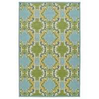Indoor/Outdoor Luka Blue Damask Rug - 8'8 x 12'
