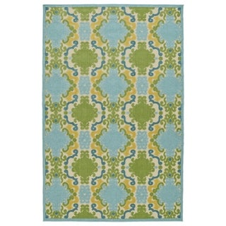 Indoor/Outdoor Luka Blue Damask Rug (8'8 x 12'0) - 8'8 x 12'