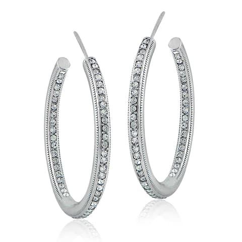 Crystal Ice Silvertone European Crystals Inside-Out Open Hoop Earrings