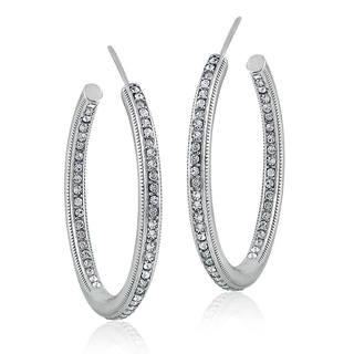 Crystal Ice Silvertone Swarovski Elements Inside-Out Open Hoop Earrings