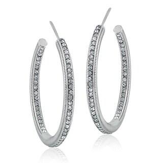 Crystal Ice Silvertone Swarovski Elements Inside-Out Open Hoop Earrings