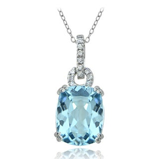 Icz Stonez Sterling Silver Blue Topaz Drop Necklace (9 1/3ct TGW)