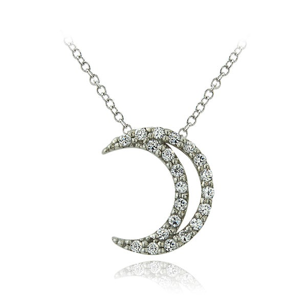 ICZ Stonez Sterling Silver Cubic Zirconia Crescent Moon Shaped Necklace