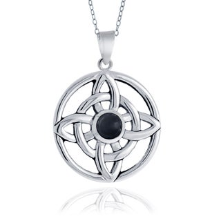 Glitzy Rocks Sterling Silver Onyx Celtic Round Necklace