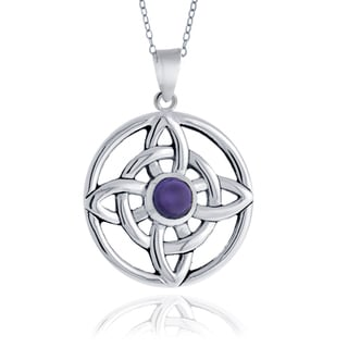 Glitzy Rocks Sterling Silver Amethyst Celtic Round Necklace