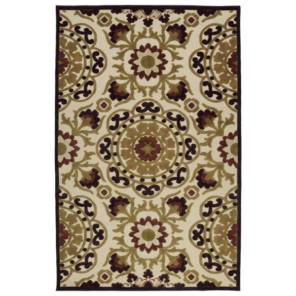 "Indoor/Outdoor Luka Khaki Suzani Rug - 8'8"" x 12'"