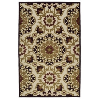 Indoor/Outdoor Luka Khaki Suzani Rug (5'0 x 7'6)
