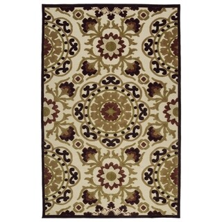 Indoor/Outdoor Luka Khaki Suzani Rug (2'1 x 4'0) - 2' x 4'