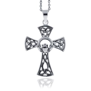 Mondevio Sterling Silver Celtic Cross Necklace