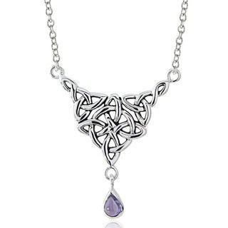 Glitzy Rocks Sterling Silver Amethyst Celtic Knot Neckalce