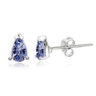 Glitzy Rocks Sterling Silver Tanzanite Solitaire Teardrop Earrings