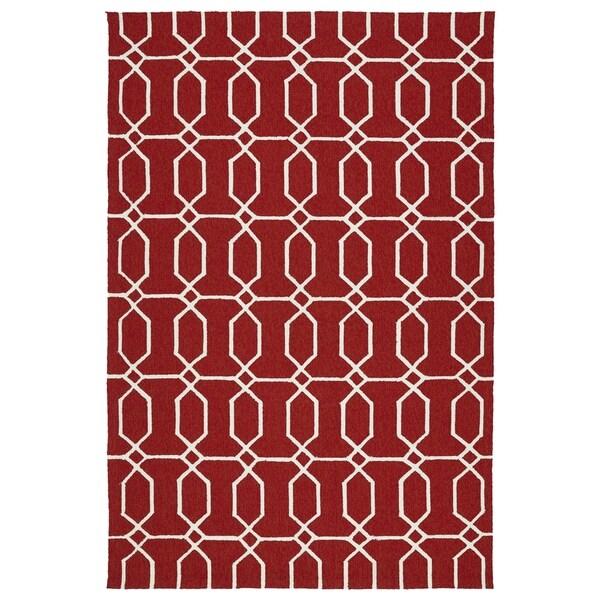"""Indoor/Outdoor Handmade Getaway Red Links Rug (5'0 x 7'6) - 5' x 7'6"""""""