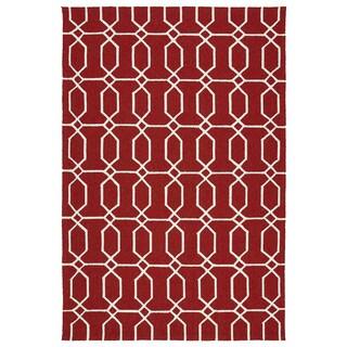 Indoor/Outdoor Handmade Getaway Red Links Rug (9'0 x 12'0) - 9' x 12'