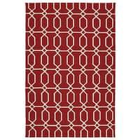 Indoor/Outdoor Handmade Getaway Red Links Rug - 9' x 12'