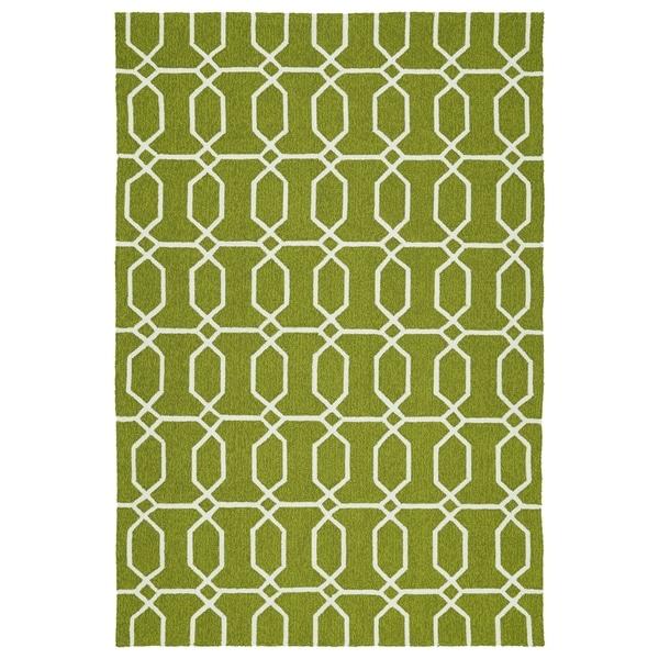 Indoor/Outdoor Handmade Getaway Apple Green Links Rug - 8' x 10'