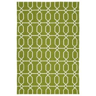 Indoor/Outdoor Handmade Getaway Apple Green Links Rug (8'0 x 10'0)