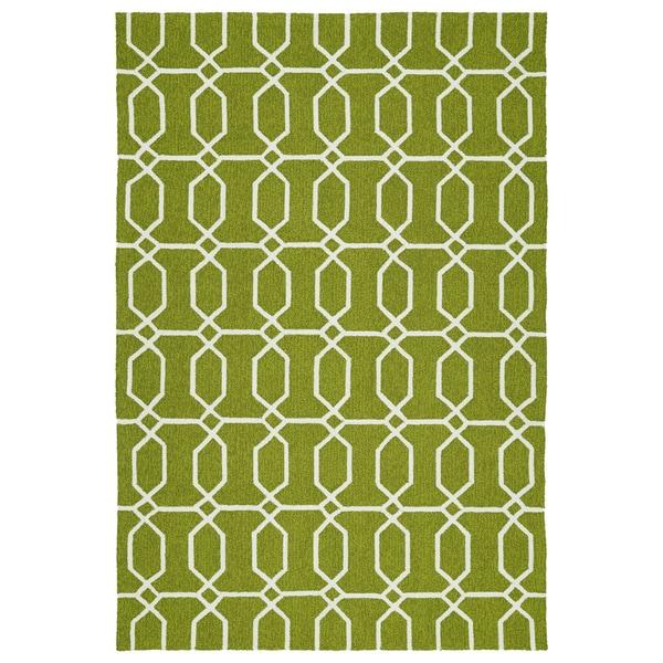 Indoor/Outdoor Handmade Getaway Apple Green Links Rug - 9' x 12'