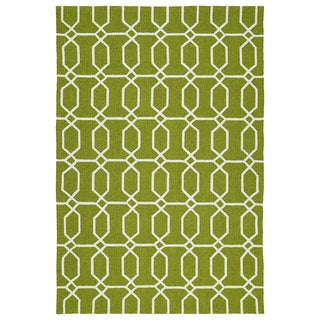 Indoor/Outdoor Handmade Getaway Apple Green Links Rug (9'0 x 12'0)