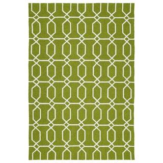 Indoor/Outdoor Handmade Getaway Apple Green Links Rug (9'0 x 12'0)